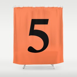 5 (BLACK & CORAL NUMBERS) Shower Curtain