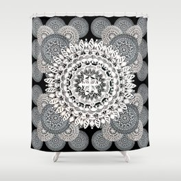 Black, Silver, and Pearl White Mandala Textile Pattern Shower Curtain