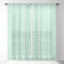 Mint Green Pastel Solid Color Block Sheer Curtain