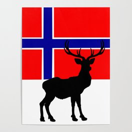 Norwegian Flag with Caribou Silhouette Poster