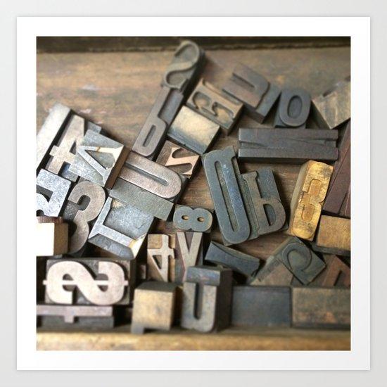 Vintage Wooden Letter Press Letters Art Print
