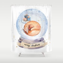 Christmas fox #2 Shower Curtain