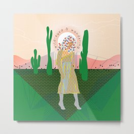Wild-Eyed & Wandering, Woman in the Desert Contemporary Cactus Illustration Metal Print