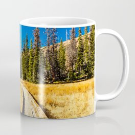 Wooden hiking trail in the forest Coffee Mug