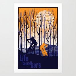 retro mountain bike poster, Life behind bars Art Print