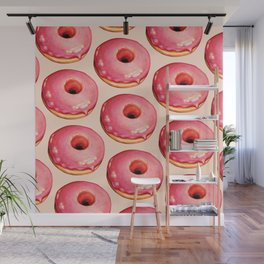 Strawberry Donut Pattern Wall Mural