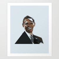 obama Art Prints featuring Obama by Kyle Louis Fletcher