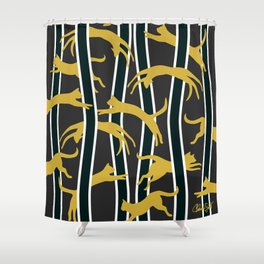 Flying Felines_gold and black Shower Curtain