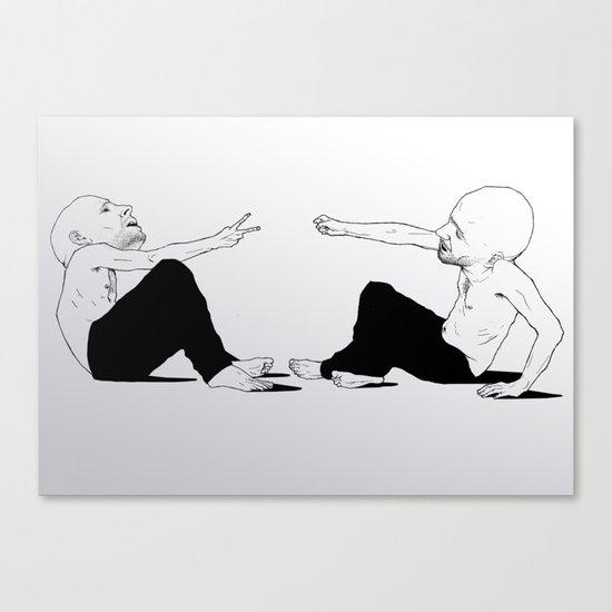 rock beats scissors Canvas Print