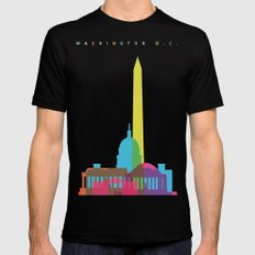 Shapes of Washington D.C. Accurate to scale SMALL Black Mens Fitted Tee