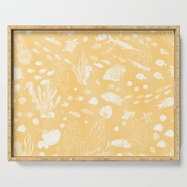 Watercolor Seascape in Light Yellow Serving Tray