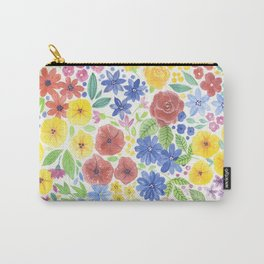 Doodle floral garden in watercolor Carry-All Pouch