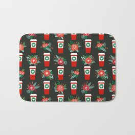 Coffee holiday cups floral bouquet flowers coffees cafe basic art Bath Mat