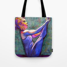Stained Glass Boat Pose Tote Bag
