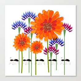 Zinnias and Ants Canvas Print