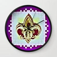 fleur de lis Wall Clocks featuring Fleur De Lis Purple  by Tina Vaughn