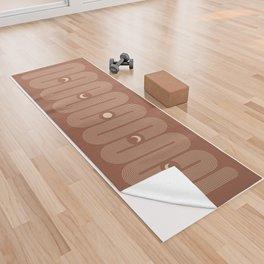 Geometric Lines // Moon Phases 6 (Terracotta and Beige) Yoga Towel