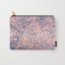 Stylish Metallic Navy Blue and Pink Floral Design Carry-All Pouch