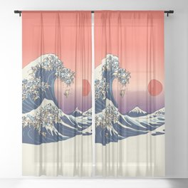 The Great Wave of Pugs / Square Sheer Curtain