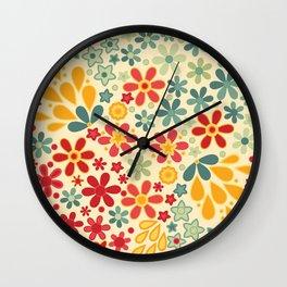 Retro.  Floral motifs Wall Clock
