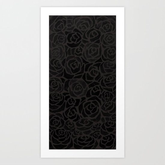 Cluster of Black Roses Art Print