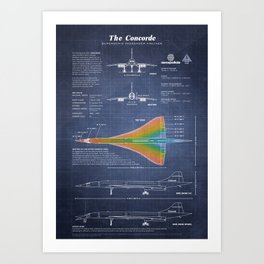 Concorde Supersonic Airliner Blueprint (dark blue) Art Print