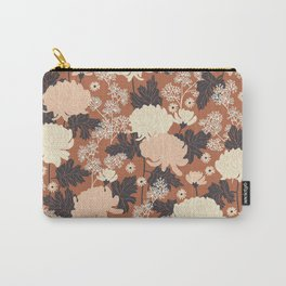 Peony Flower Brown Carry-All Pouch