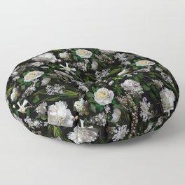 Midnight Garden Moody Florals  Floor Pillow
