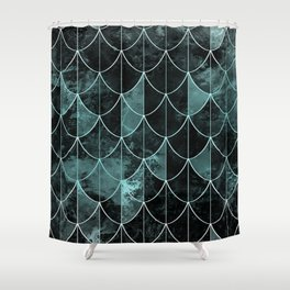 Mermaid scales. Mint and black. Shower Curtain