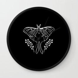 Luna Moth linocut minimal black and white basic botanical nature art Wall Clock