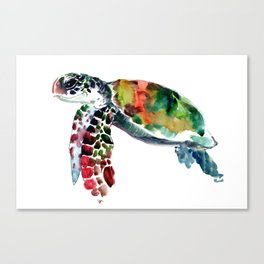 Sea Turtle Olive green, Sage green, Purple Turtle artwork Canvas Print