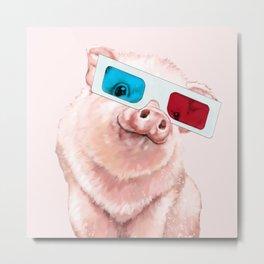 Baby Pink Pig Wear Glasses Pink Metal Print
