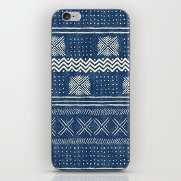 Mud Cloth Geometric Stripe Navy iPhone Skin