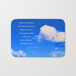 """Clouds #57"" with poem: God's Pillows Bath Mat"