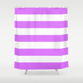 Heliotrope - solid color - white stripes pattern Shower Curtain