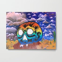 Rainbow Desert Skull Metal Print