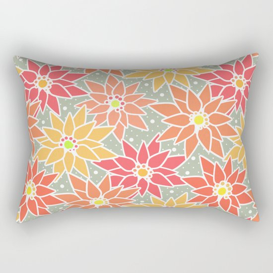 Poinsettia. Retro. Rectangular Pillow