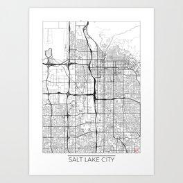 Salt Lake City Map White Art Print