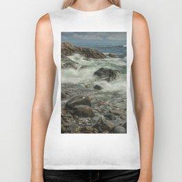 Waves Crashing against the Shore in Acadia National Park Maine Biker Tank