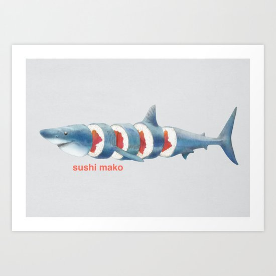 Sushi Mako (color option) Art Print