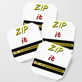 Zip it Black Yellow Red jGibney The MUSEUM Gifts Coaster