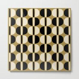 Mid Century Modern Geometric Pattern 144 Beige Black and Gold Metal Print
