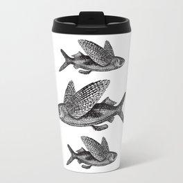 Flying Fish   Black and White Travel Mug