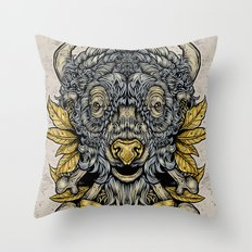 Buffalo Attack Throw Pillow