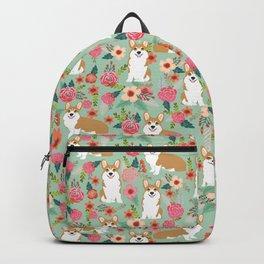 Corgi Florals - vintage corgi and florals gift great for corgi lovers, corgi gift, corgi florals, co Backpack