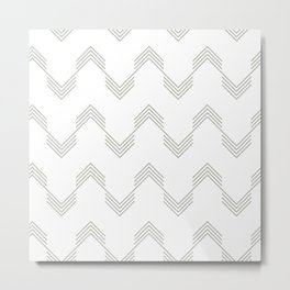 Simply Deconstructed Chevron Retro Gray on White Metal Print