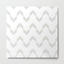 Simply Deconstructed Chevron Retro Gray on White Metal Print