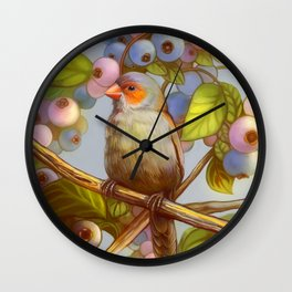 Orange cheeked waxbill finch with blueberries Wall Clock