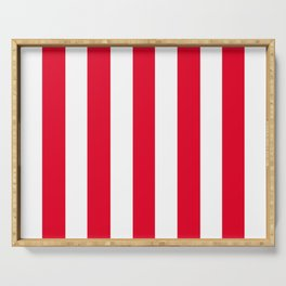 Cadmium red - solid color - white vertical lines pattern Serving Tray