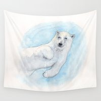 polar bear Wall Tapestries featuring Polar bear underwater by Savousepate